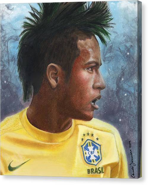 Neymar Jr Canvas Print - Neymar Jr by Eduardo Zancanaro
