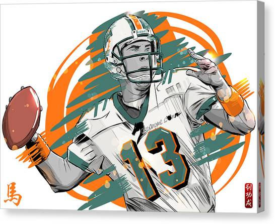 Dan Marino Canvas Print - Nfl Legends Dan Marino Miami Dolphins by Akyanyme