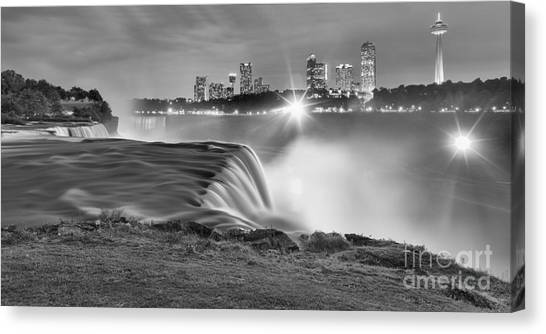 Niagara Falls Black And White Starbursts Canvas Print