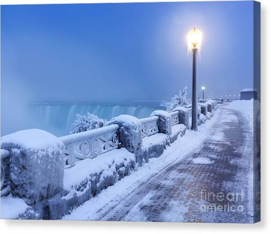 Post Falls Canvas Print - Niagara Falls City Wintertime Scenery by Oleksiy Maksymenko