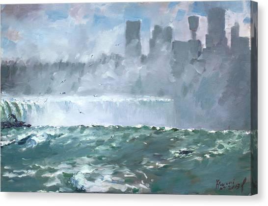 Horseshoe Falls Canvas Print - Niagara  Falls Mist  by Ylli Haruni