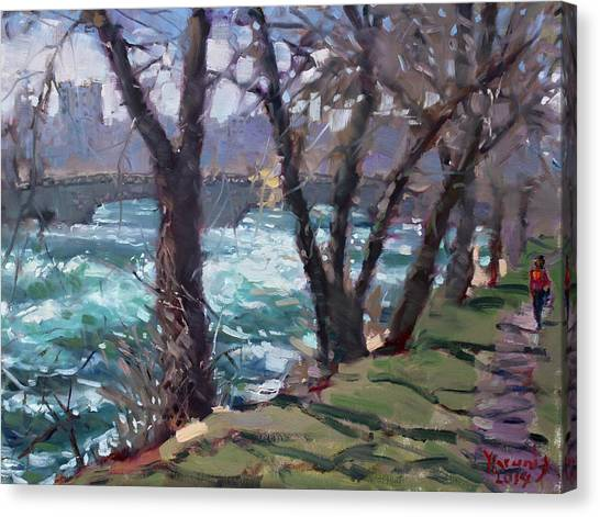 Niagara Falls Canvas Print - Niagara Falls River April 2014 by Ylli Haruni