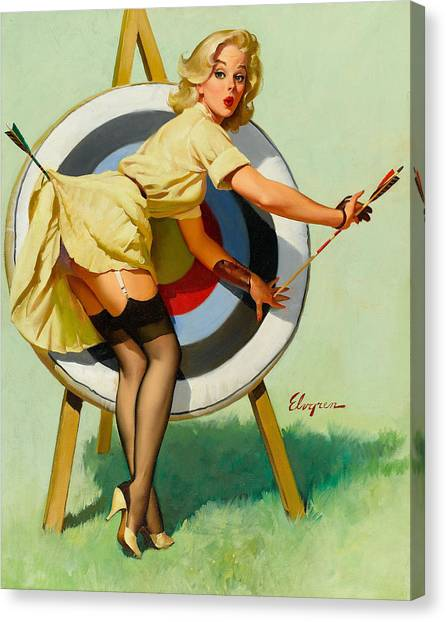 Nice Archery Shot - Retro Pinup Girl Canvas Print