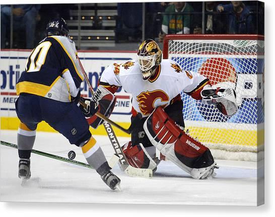 Calgary Flames Canvas Print - Nice D by Don Olea