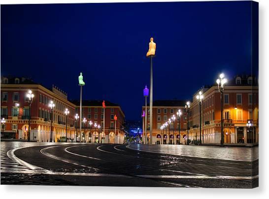 Nice France - Place Massena Blue Hour  Canvas Print