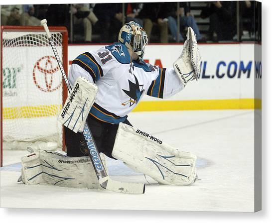 San Jose Sharks Canvas Print - Nice Glove by Don Olea