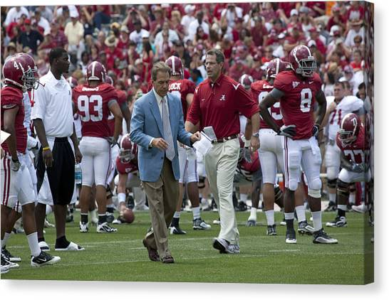 Sec Canvas Print - Nick Saban And The Tide by Mountain Dreams