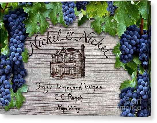 Wine Barrels Canvas Print - Nickel And Nickel Winery by Jon Neidert