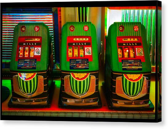 Nickel Dime Quarter Slots Canvas Print