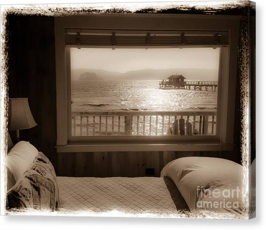 Dreamy Waterfront Cottage Canvas Print by Amy Fearn