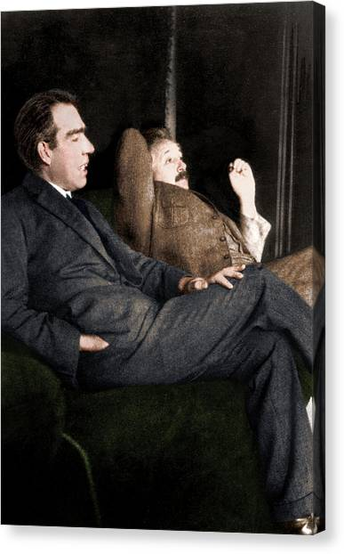 Niels Bohr And Albert Einstein Canvas Print by Photograph By Paul Ehrenfest, Copyright Status Unknown. Coloured By Science Photo Library