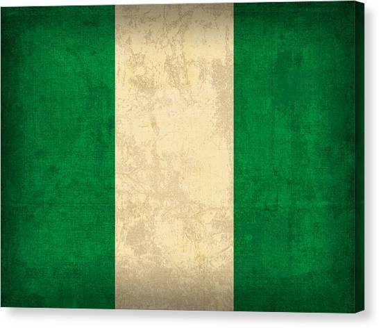 Nigeria Canvas Print - Nigeria Flag Vintage Distressed Finish by Design Turnpike