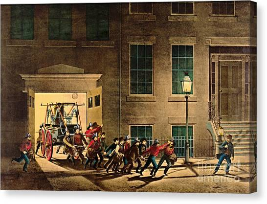 Volunteer Firefighter Canvas Print - Night Alarm 1854 by Padre Art