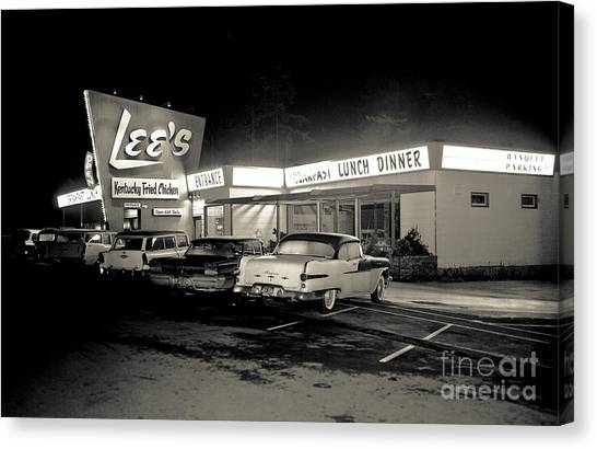 Canvas Print featuring the photograph Night At Lee's Steak House by Merle Junk