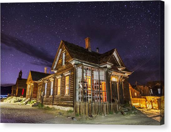 Haunted House Canvas Print - Night At The Cain House by Cat Connor