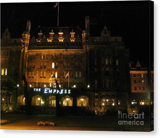 Night At The Empress Hotel Canvas Print