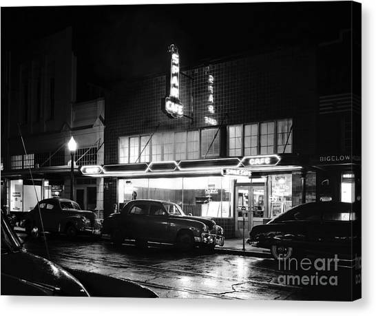 Canvas Print featuring the photograph Night At The Spar Cafe At Night 1950 by Merle Junk