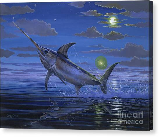 Miami Marlins Canvas Print - Night Bite Off0066 by Carey Chen