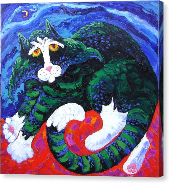 Night Cat Canvas Print by Isabelle Gervais