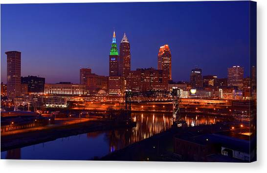 Night Cleveland Skyline From The South Canvas Print