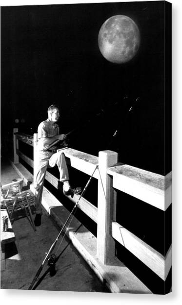 Fishing Poles Canvas Print - Night Fishing by Retro Images Archive