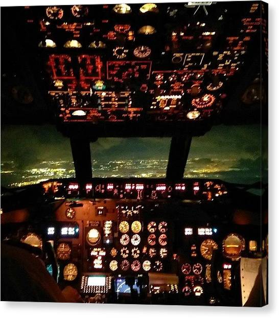 Jet Canvas Print - Night Flight, The Business End Of The by Dan Piraino