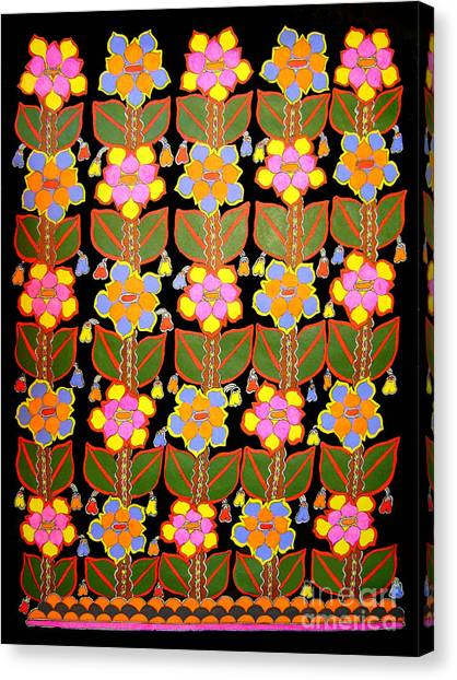 Night Flower-madhubani Paintings Canvas Print