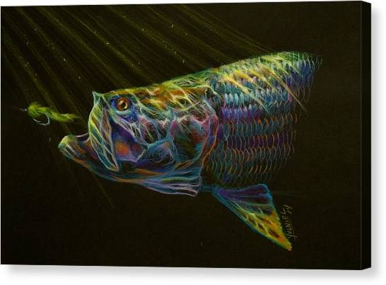 Fly Fishing Canvas Print - Night Fly by Yusniel Santos