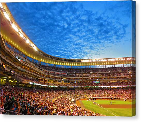 Minnesota Twins Canvas Print - Night Game At Target Field by Heidi Hermes