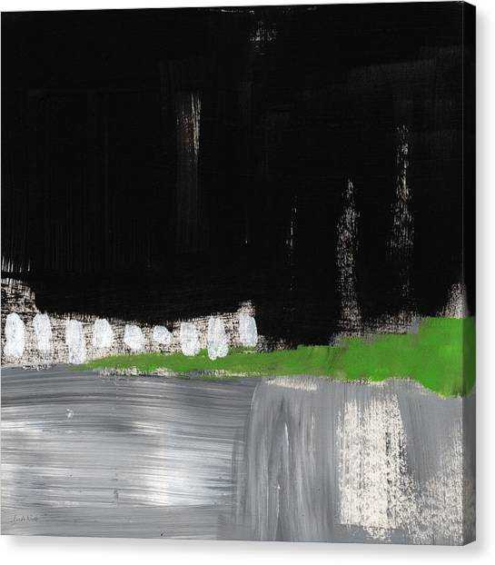 Green and black canvas print night horizon abstract landscapeart by linda woods