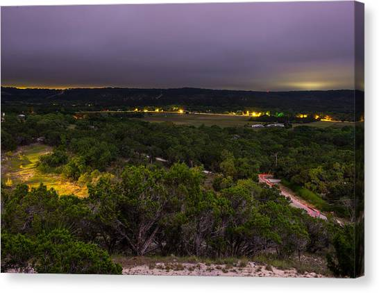 Night In A Texas Hill Country Valley Canvas Print