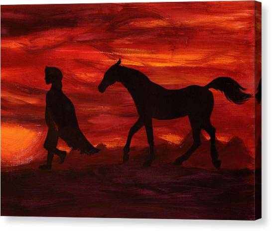 Arabian Desert Canvas Print - Night In Arabian Desert by Elena Melnikova