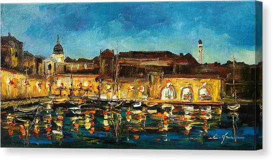 Night In Dubrovnik Harbour Canvas Print