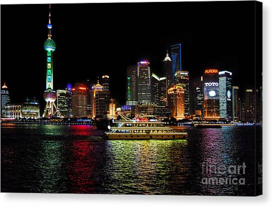 Night In Pudong Canvas Print by Alexandra Jordankova