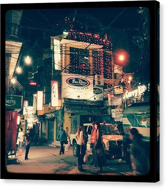 Geometric Canvas Print - Night In Thamel by Raimond Klavins