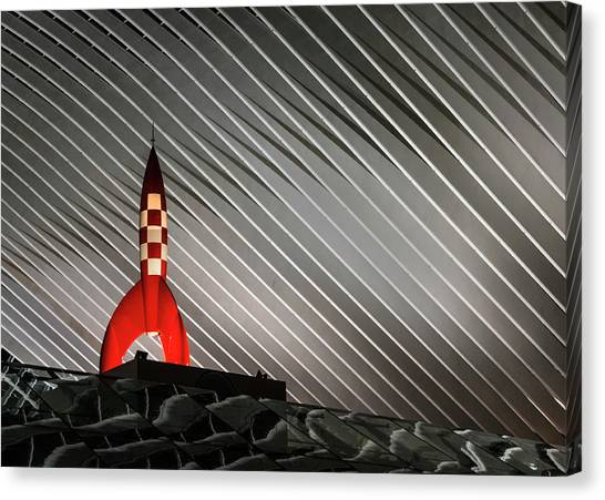 Checker Canvas Print - Night Launch by Jef Van Den