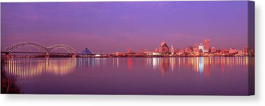Mississippi River Canvas Print - Night Memphis Tn by Panoramic Images