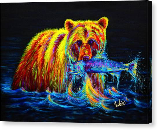 Yellowstone Canvas Print - Night Of The Grizzly by Teshia Art