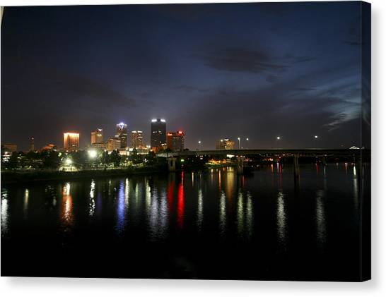 Night On The Junction Bridge Canvas Print
