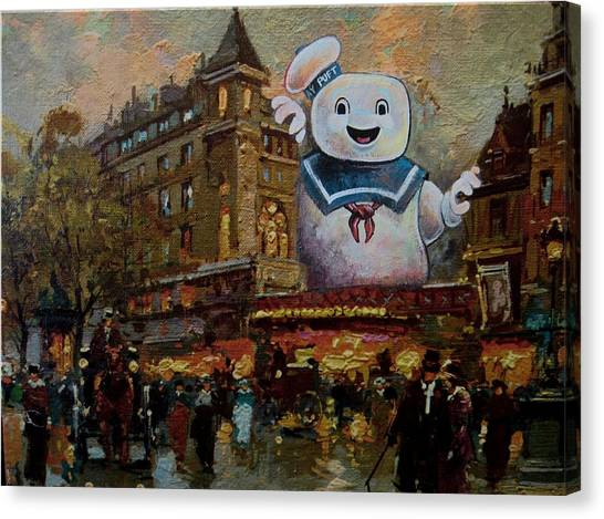 Ghostbusters Canvas Print - Night On The Town by David Irvine
