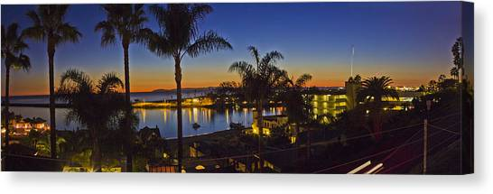 Rollerblading Canvas Print - Night Over Newport Beach Panorama by Harold Vaagan
