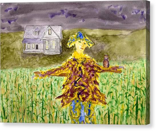 Night Owl Scarecrow Canvas Print