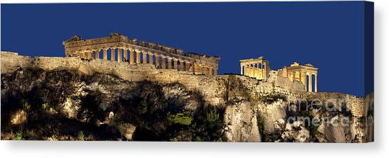The Acropolis Canvas Print - Night Panoramic View Of Acropolis by Baltzgar