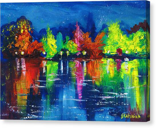 Night Park By The River Lanterns Trees Canvas Print