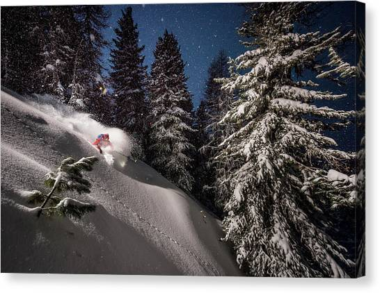 Fir Trees Canvas Print - Night Powder Turns With Adrien Coirier by Tristan Shu