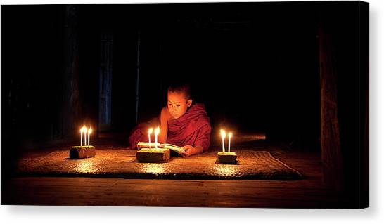 Monks Canvas Print - Night Reading by Marcus Lee