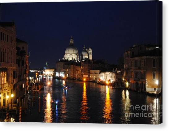 Night Reflections On Grand Canal Canvas Print by Jacqueline M Lewis