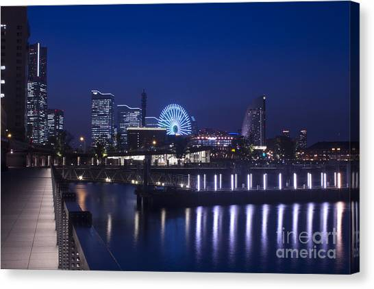 Night Scene In Blue Of Minatomirai In Yokohama Canvas Print