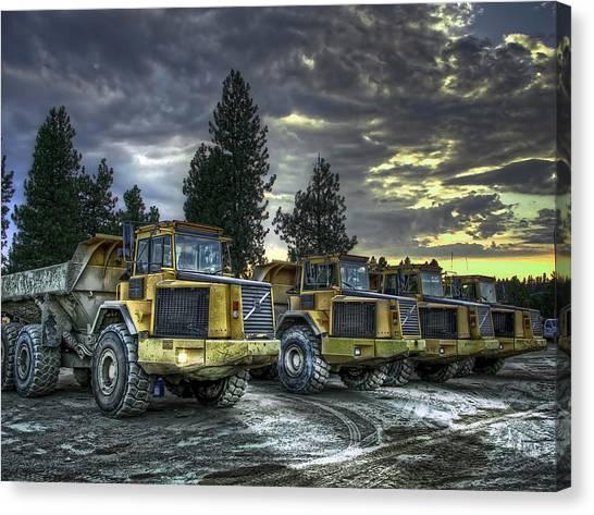 Dump Trucks Canvas Print - Night Shift by Daniel Hagerman