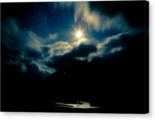 Night Sky And Moon Himalyan Canvas Print